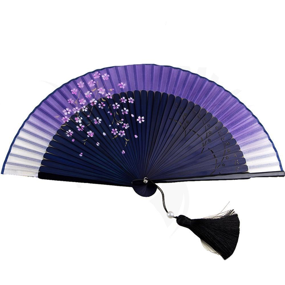 Chinese fan in silk damask and bamboo Chinese fan Asian craftsman
