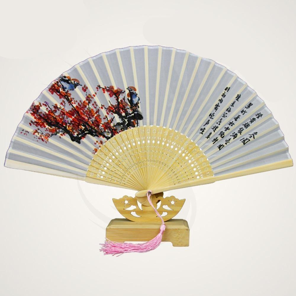 Chinese Pure Silk Fan Chinese Asian Artisan Plum Blossoms and Chinese Poem