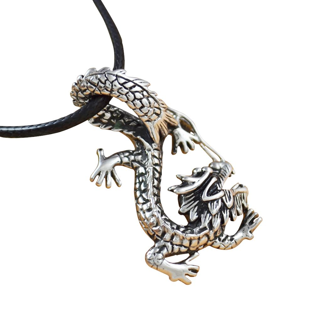 Feng Shui Dragon Pendant in Titanium Pendants & Amulets Asian Artisan