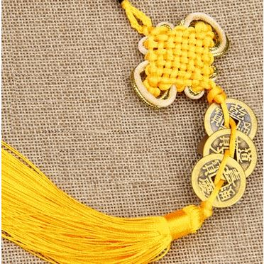 Blessed Traditional Feng Shui pendant - Yellow Feng Shui Asian Craftsman 3 Pieces - Chance