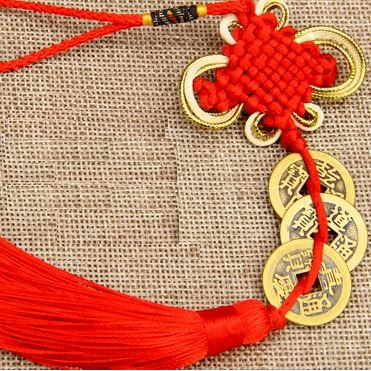 Blessed Traditional Feng Shui Pendant - Red Asian Artisan Feng Shui 3 Pieces - Luck