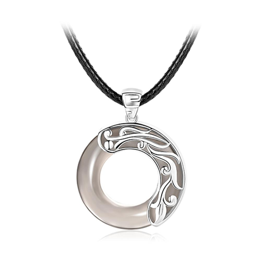 Rond Dragon pendant in Obsidian and Pure Silver 999/1000 Pendants - Asian Artisan Iced Black Obsidian Amulets