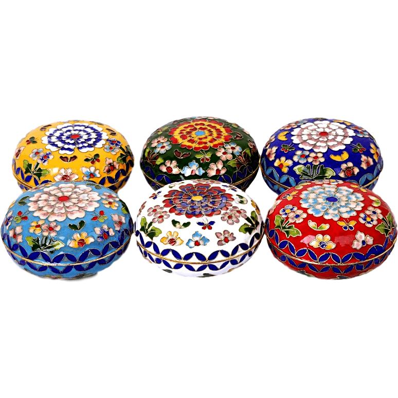 Small Chinese cloisonne box - 6 colors Chinese Cloisonne Asian Artisan