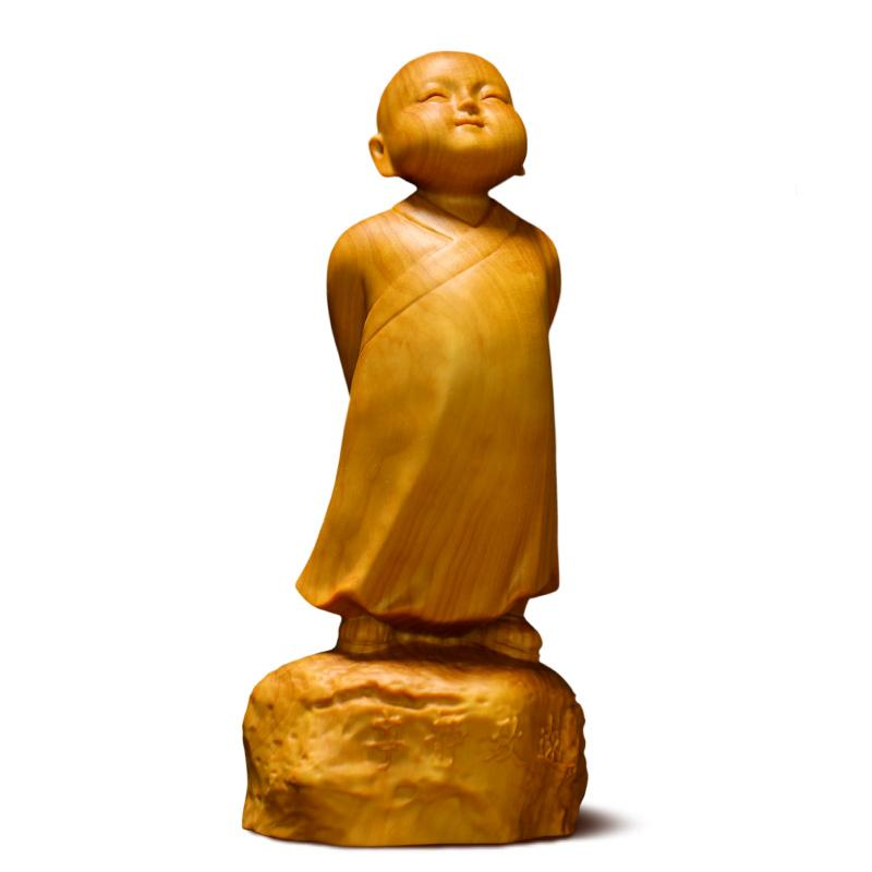 Monk statue on a wooden boxwood rock Statues Buddha Craftsman of Asia