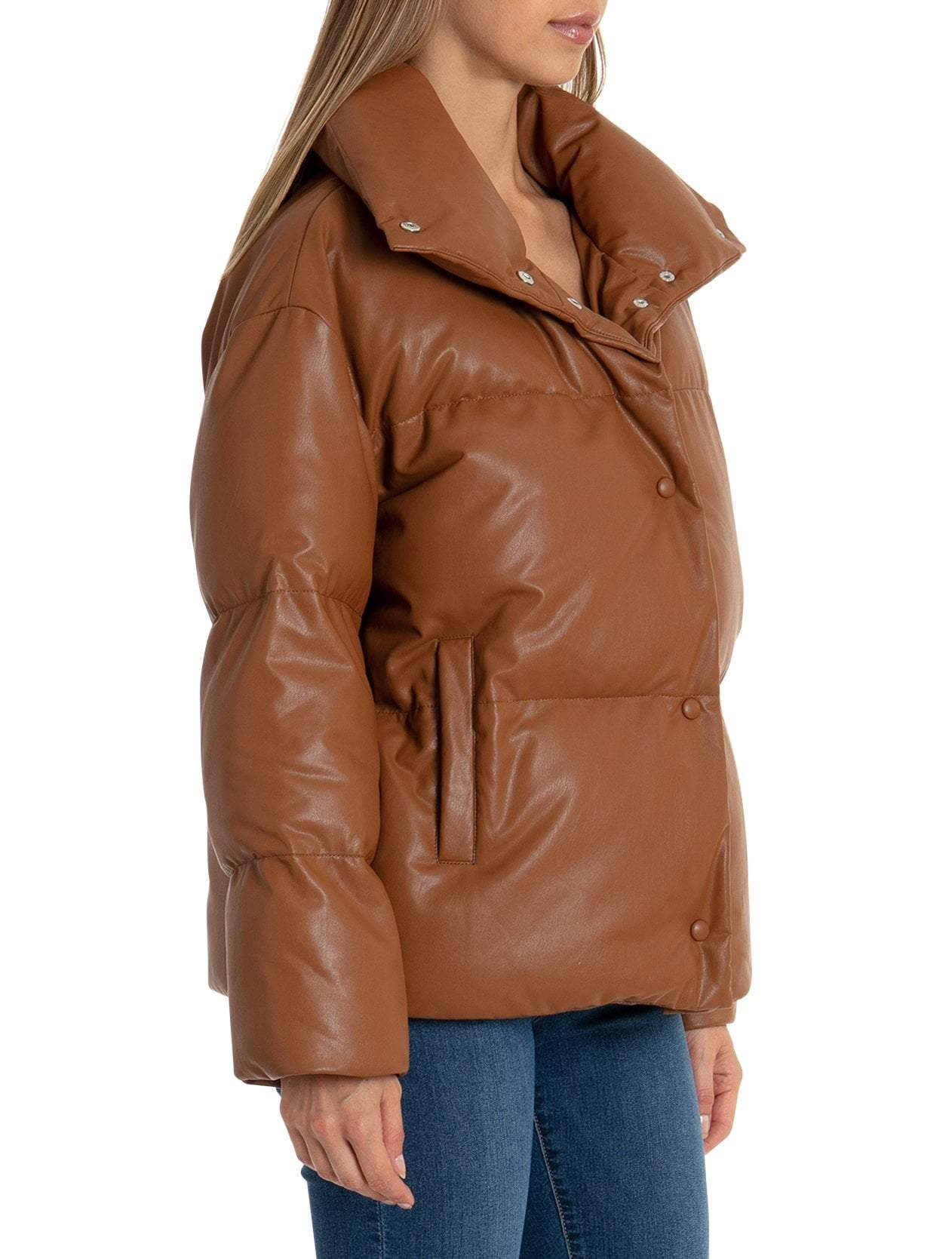 Quilted Faux Leather Puffer Jacket - BAGATELLE.CITY Shop Leather | Suede | Jackets