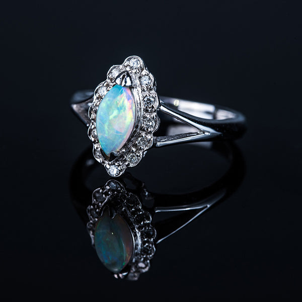 18K White Gold Marquise Opal (0.45ct) Diamond Ring