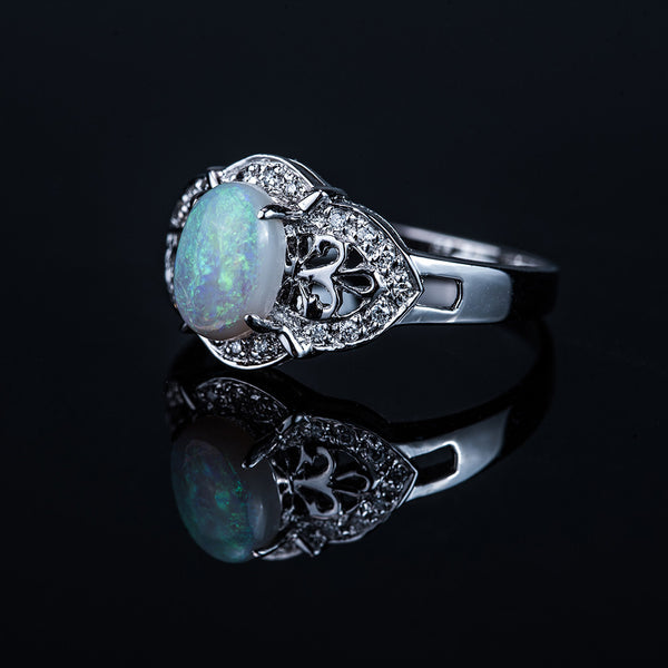 18K White Gold Opal Diamond Ring