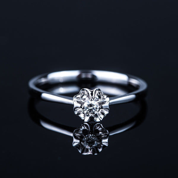 The Diamond Flower - 18k White Gold Diamond Ring