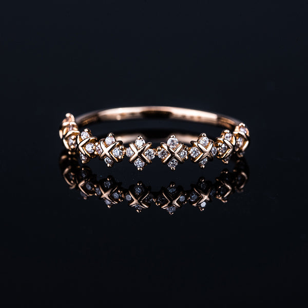 18K Rose Gold Diamond Line Ring