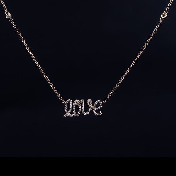Love Is The Answer - 18K Rose Gold Diamond Necklace