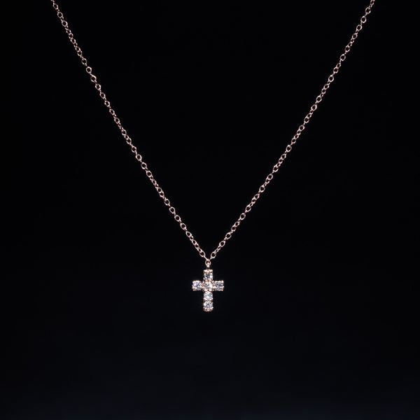 Rose Cross (s) - 18K Rose Gold Diamond Necklace