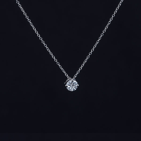 18k White Gold 4+1 Diamond Pendant with Necklace