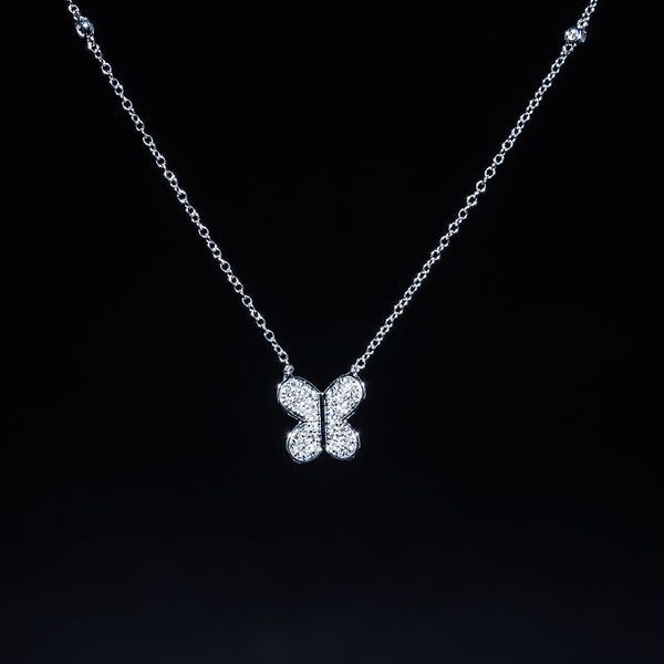 Butterfly - 18K White Gold Diamond Necklace