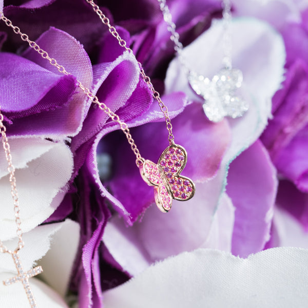 Pink Butterfly - 18K Rose Gold Pink Sapphire Necklace
