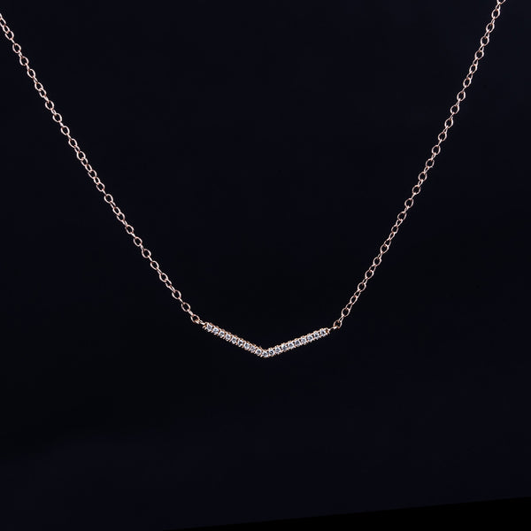 Rose Gold Stripe - 18K Rose Gold Diamond Necklace