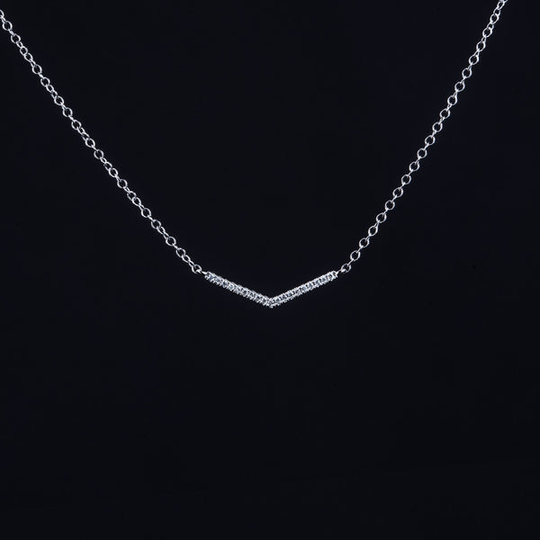 White Gold Stripe - 18K White Gold Diamond Necklace