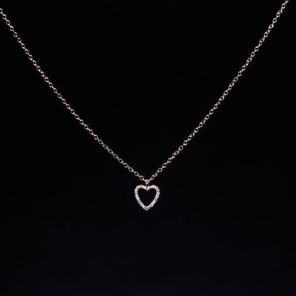 Soft Heart - 18K Rose Gold Diamond Necklace
