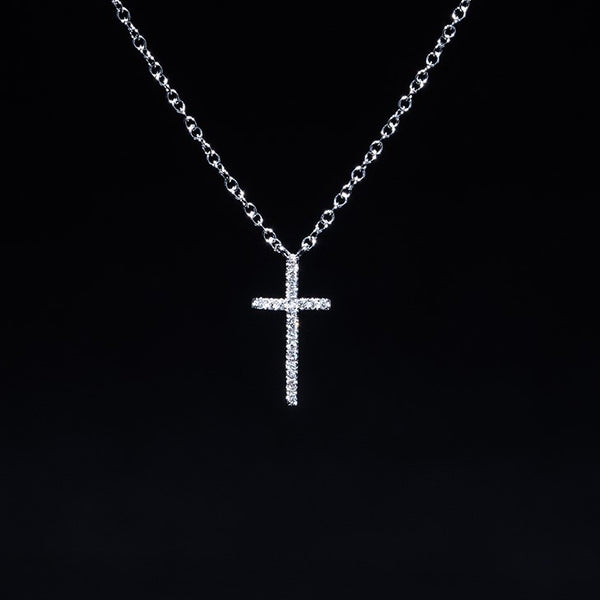 White Cross - 18K White Gold Diamond Necklace
