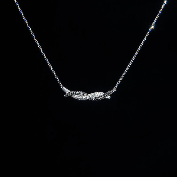 Black and White Swirly - 18K White Gold Diamond Necklace