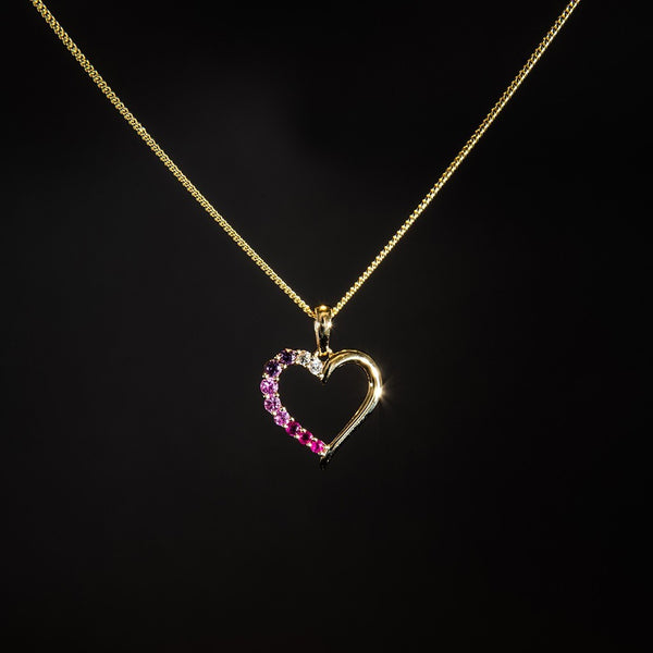 Rainbow Heart - 18K Gold Pendant (Necklace not included)