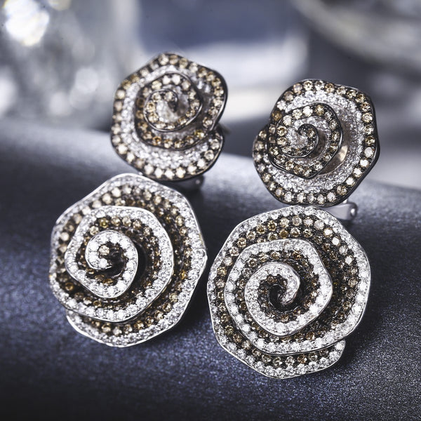 Diamond Hive Earrings - Nocturne Collection  [18K]