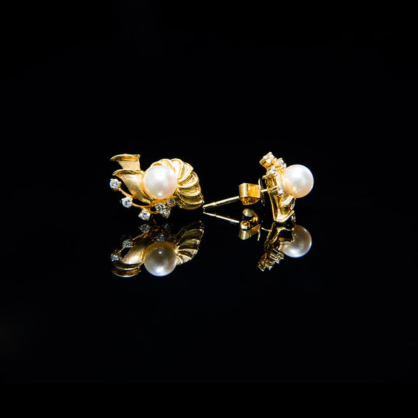 Ocean Earrings - 14k Gold Pearl Stud Earrings