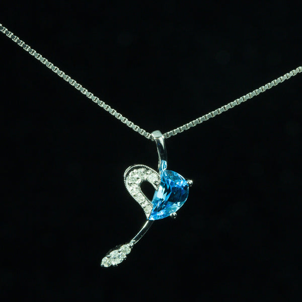 18K White Gold Blue Topaz with Diamond Pendant
