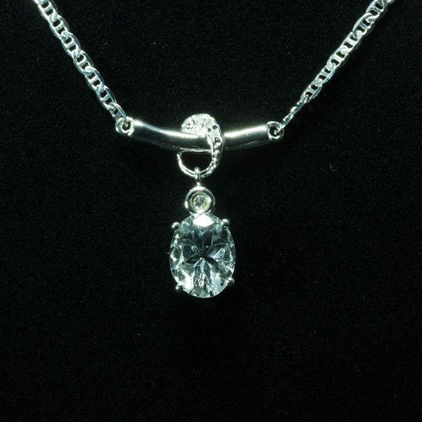18K White Gold Aquamarine with Diamond Necklace