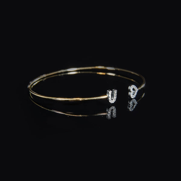 Trendy Wire Bangle for Daily - 18K gold with Diamond Wire Bangle