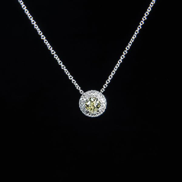 Tasting The Stars - 18k White Gold Fancy Yellow Diamond Necklace