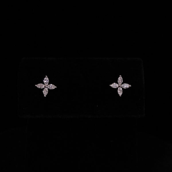 Marquise Four Petal Flowers - Diamond 18k Earrings