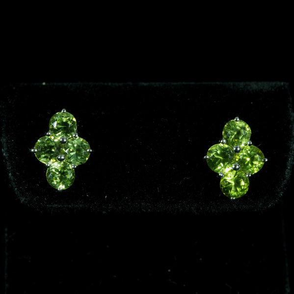 18K White Gold Peridot Earrings