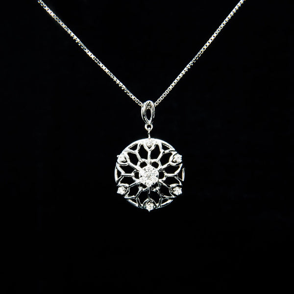 Round Snowflake Pendant (Necklace not included)