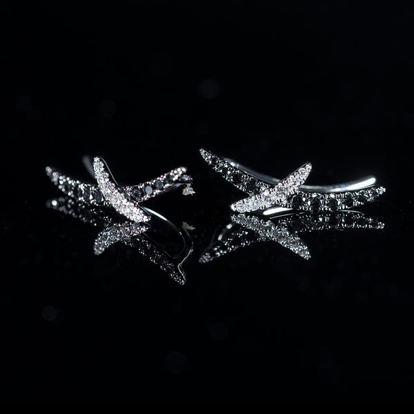 18K White Gold Diamond Hook Earrings | Jress.com