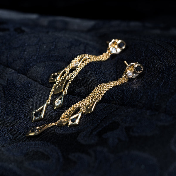18K Gold Diamond Dangle Earrings | Jress.com