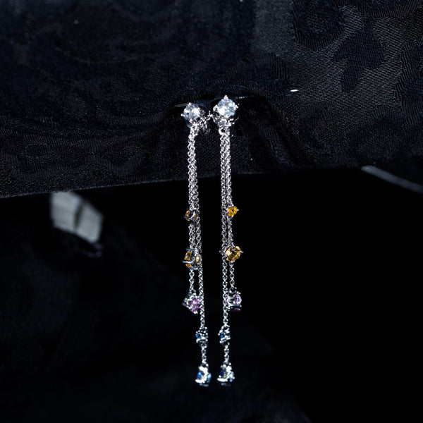 18K White Gold Dangle Earrings with Color Sapphires | Jress.com