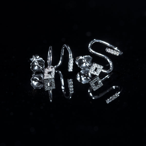 18K White Gold Diamond Signature Earrings | Jress.com