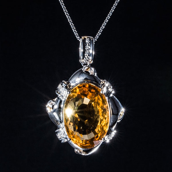 Whisky Color Citrine Pendant - 18K White Gold - Necklace Not included