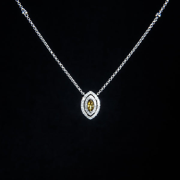 [Fancy] Cognac - 18K White Gold Fancy Color Diamond Necklace