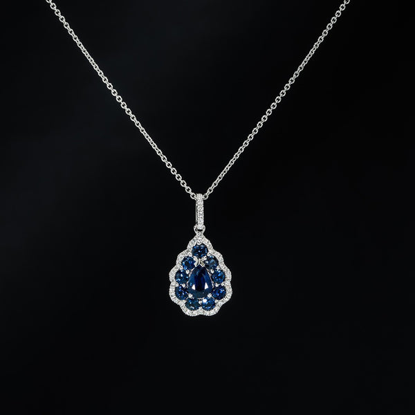 Pear shape Sapphire Drop Pendant (Necklace not included)