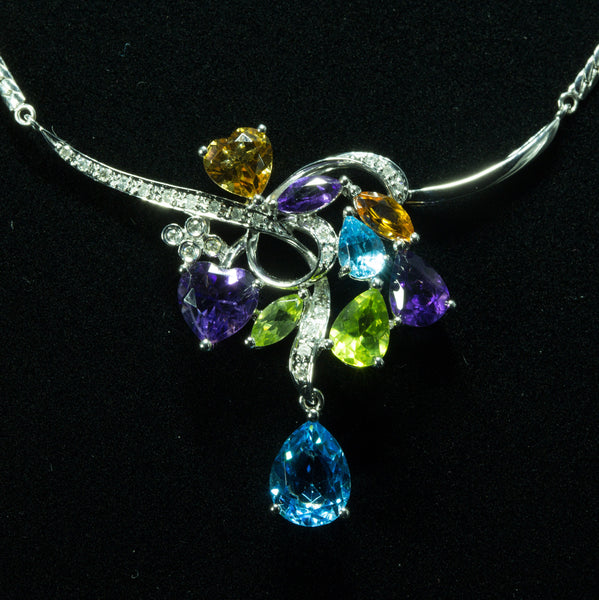18K White Gold Gemstones with Diamond Necklace