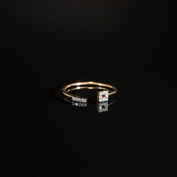 Minimalist Ring - 18K Rose Gold with Diamonds
