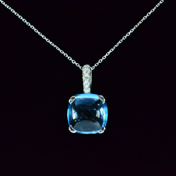 Sky Blue Topaz - 14K White Gold Topaz Pendant (necklace not included)
