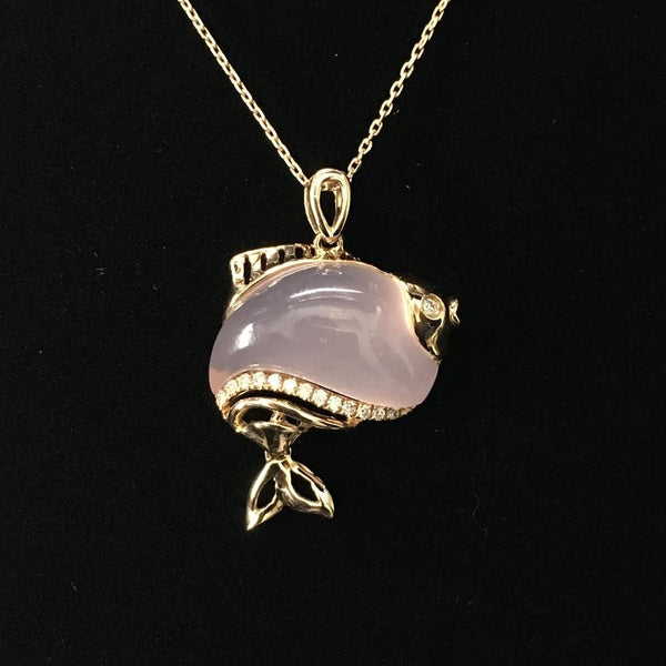Rose Quartz Diamond Pendant