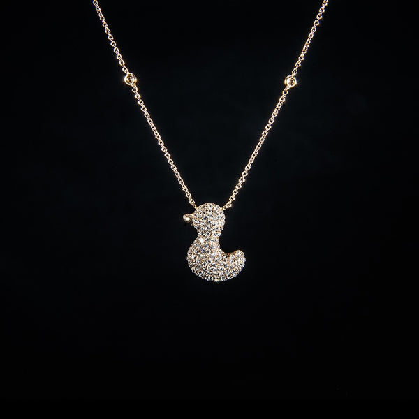 A Yellow Duck - 18K Rose Gold Diamond Necklace