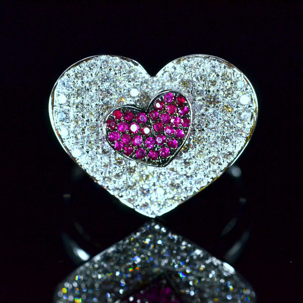 Hearts - 18K White Gold Ruby and Diamond Ring