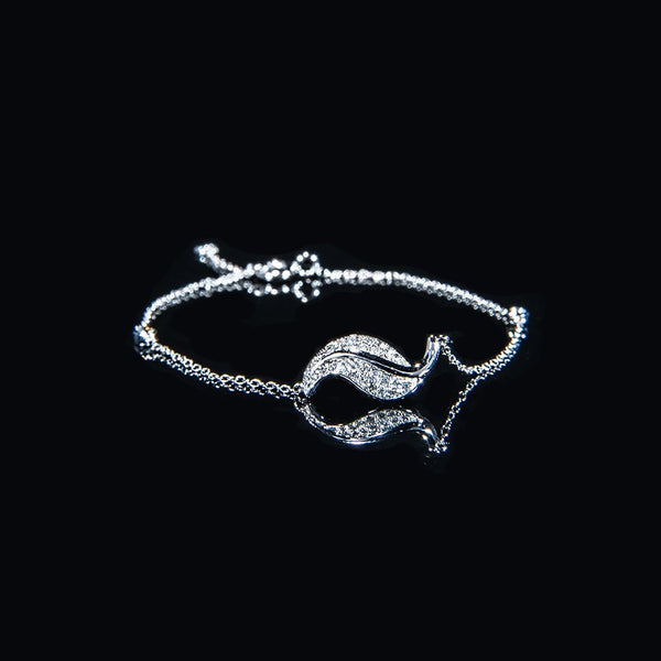 The Silver Leaf - 18K White Gold Diamond Bracelet