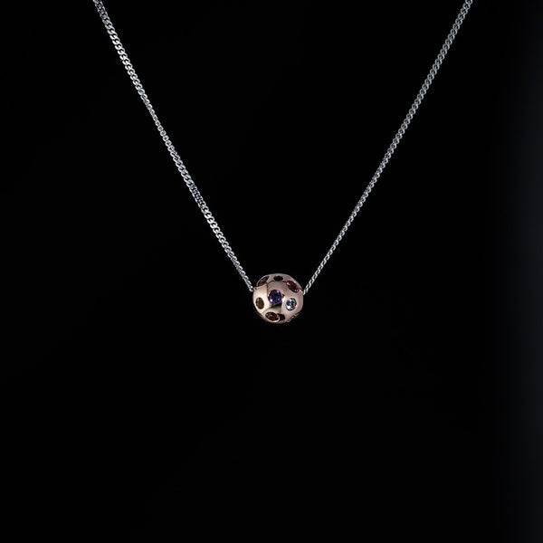 A Rainbow Sphere Necklace - 14k Rose Gold sphere with White Gold Necklace