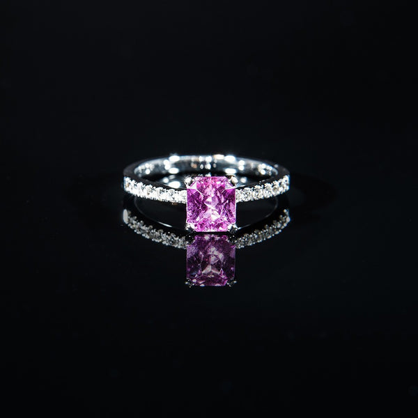 Rare unheated Pink Sapphire Ring - 18K white gold Ring US#7