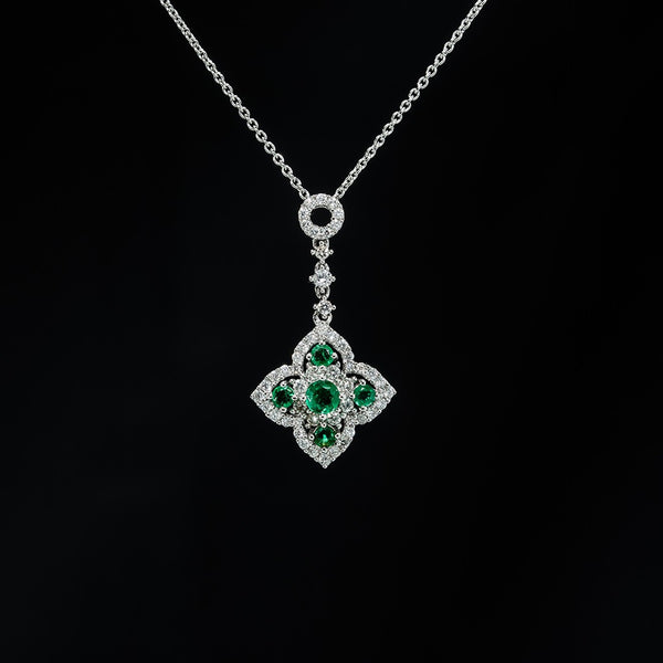 Emerald Flower Drop Pendant (Necklace not included)